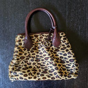 Vintage DKNY Leopard Fur & Leather Handbag